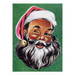 African American Black Santa Claus Christmas Poster