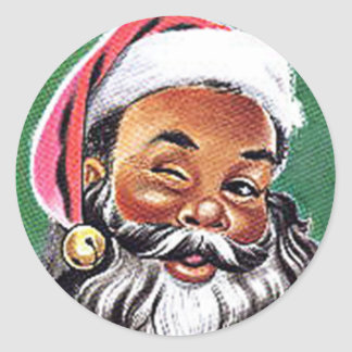 African American Black Santa Claus Christmas Round Sticker