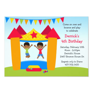 African American Bounce House Birthday Party Card