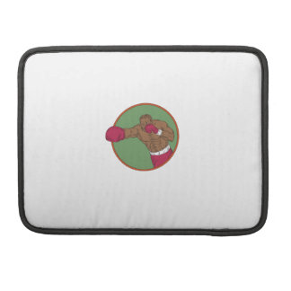 African-American Boxer Right Hook Circle Drawing MacBook Pro Sleeve