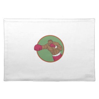 African-American Boxer Right Hook Circle Drawing Placemat