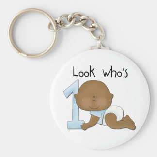 African American Boy 1st Birthday Tshirts and Gift Basic Round Button Key Ring