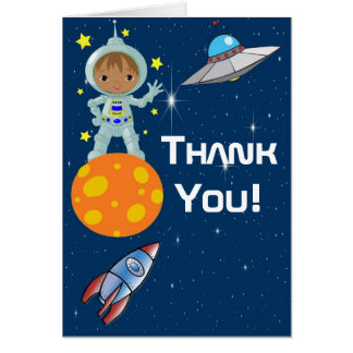 African American Boy Astronaut Thank You Note Card