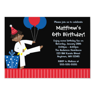 African American Boy Balloons Taekwondo Birthday Card
