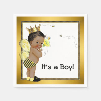African American Boy Bumble Bee Baby Shower Disposable Napkin