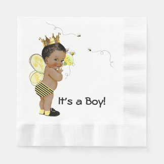 African American Boy Bumble Bee Baby Shower Disposable Serviettes