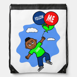 African American Boy Flying with Balloons Cartoon Drawstring Bag