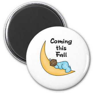 African American Boy on Moon Fall 6 Cm Round Magnet