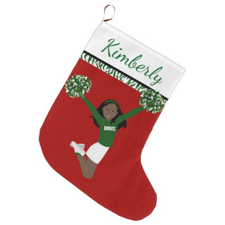 African American Cheerleader In Green And White Large Christmas Stocking