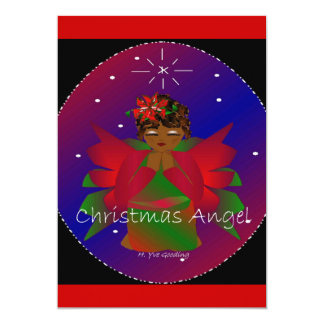 African-American Christmas Angel Baby Girl Praying Card