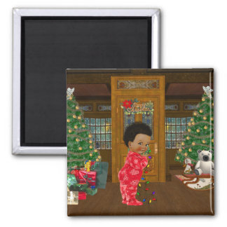 African American Christmas Magnet