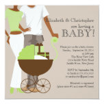 African American Couple Gender Neutral Baby Shower 13 Cm X 13 Cm Square Invitation Card