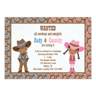 African American Cowboy and Cowgirl Invitations Custom Invitations