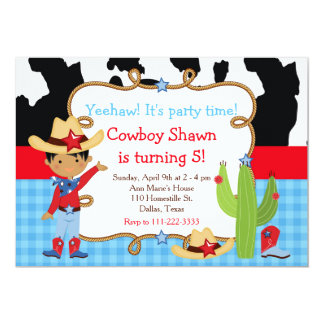 African American Cowboy Western Birthday Party Card