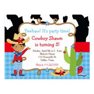 African American Cowboy Western Birthday Party Postcard