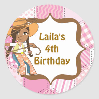 African American Cowgirl Birthday Party Labels