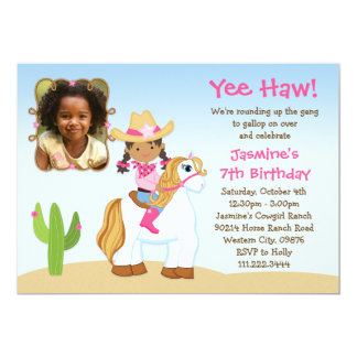 African American Cowgirl Horse Birthday Party Personalized Invite