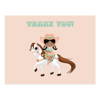 African American Cowgirl on Horse Girls Thank You Postcard