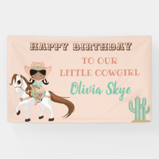 African American Cowgirl on Horse Girls Western Banner