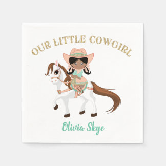 African American Cowgirl on Horse Girls Western Disposable Napkin