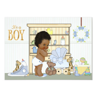 African American Ethnic Baby Boy Shower Invitation