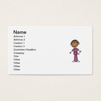 African American Female Stick Figure Nurse Business Card