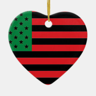 African American Flag - Red Black and Green Ceramic Heart Decoration