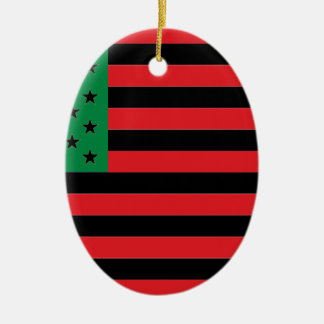 African American Flag - Red Black and Green Ceramic Oval Decoration