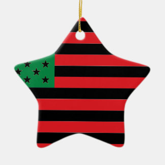 African American Flag - Red Black and Green Ceramic Star Decoration