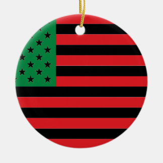 African American Flag - Red Black and Green Round Ceramic Decoration