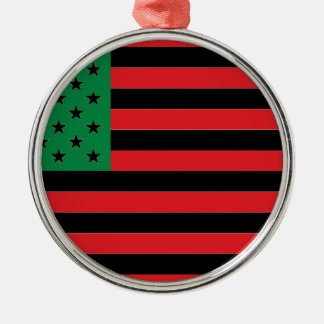 African American Flag - Red Black and Green Silver-Colored Round Decoration