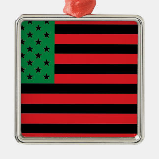 African American Flag - Red Black and Green Silver-Colored Square Decoration