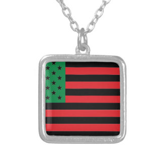 African American Flag - Red Black and Green Silver Plated Necklace