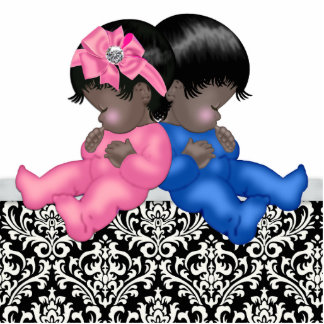African American Gender Reveal Baby Shower Standing Photo Sculpture