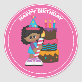 African American girl and candle Birthday Round Sticker