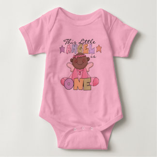 African American Girl Angel 1st Birthday Baby Bodysuit