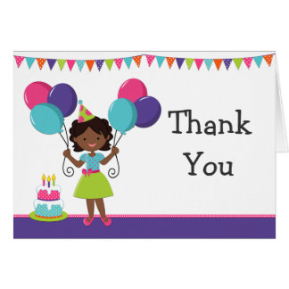 African American Girl Birthday Party Thank You Card
