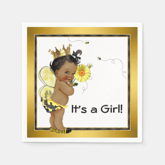African American Girl Bumble Bee Baby Shower Disposable Napkins