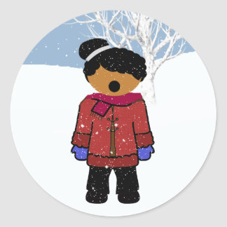 African American Girl Christmas Sticker