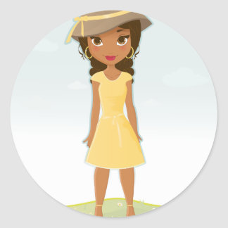 African American Girl Classic Round Sticker