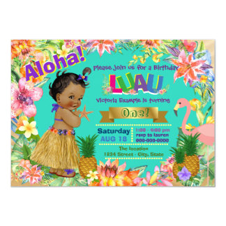 African American Girl Hawaiian Luau Birthday Party 11 Cm X 16 Cm Invitation Card