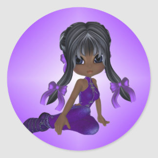 African American Girl in Purple Clothes Classic Round Sticker