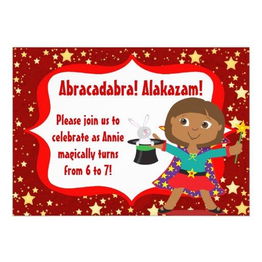 African American Girl Magician Birthday Invitation