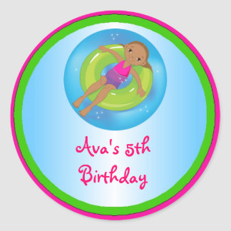 African American Girl Pool Birthday Party Labels Round Sticker