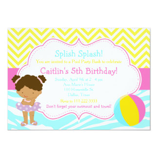 African American Girl Pool Party Bash Party Card