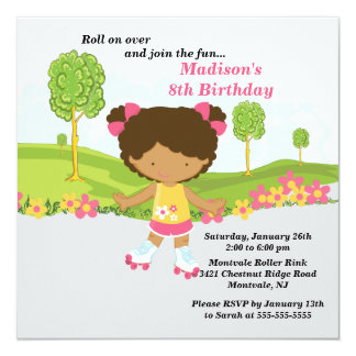 African American Girl Skating Birthday Party Card