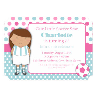 African American Girl Soccer Party Invitations