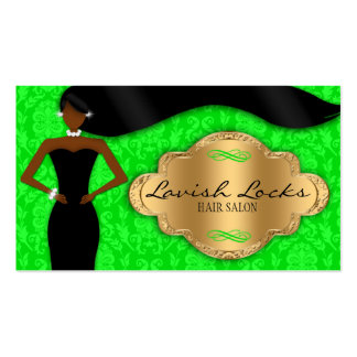 African American Hair Stylist Green Gold Damask Business Card Template