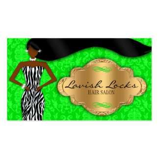 African American Hair Stylist Green Gold Zebra Business Card Templates