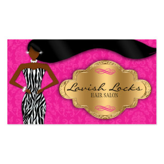 African American Hair Stylist Pink Gold Zebra Business Card Templates